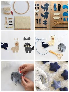 DIY Ideen sewing small figures out of felt, making mobile baby, step by step instructions, animals J Sewing Machine Projects, Sewing Projects For Kids, Felt Patterns, Craft Patterns, Christmas Sewing, Christmas Crafts, Felt Crafts Diy, Ideias Diy, Sewing Toys
