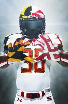 Under Armour University of Maryland Pride Uniforms & Cleats. A thing of beauty. College Football Uniforms, Football Gear, Sports Uniforms, Football Helmets, Sports Teams, Indiana Football, Tennessee Football, Panthers Football, Football Tailgate