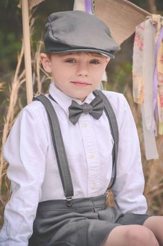 Linen Ring Bearer 4 Piece SHORT Set, Ring Bearer Bowtie, Suspenders, Newsboy hat and Shorts. Wedding Outfit for Ringbearer by TwoLCreations on Etsy https://www.etsy.com/listing/263760003/linen-ring-bearer-4-piece-short-set-ring