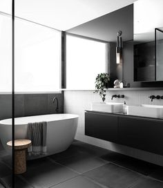 """1,188 Likes, 12 Comments - Scandinavian Lifestyling (@simple.form) on Instagram: """"•• The Minimalist, Monochrome, Moody and Masculine Master Bathroom at the Penthouse of Raines…"""""""