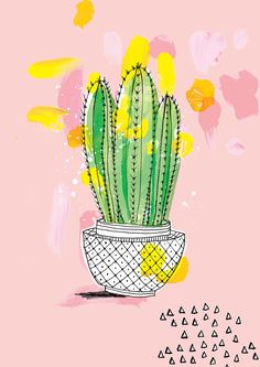 Favourite Cactus Archival Art Print in three by lovelysweetwilliam