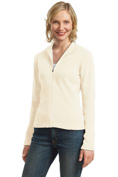 Port Authority Ladies Flatback Rib Full Zip Jacket: Rich & subtle texture, impeccable details,10 Oz., 85/15 cotton/poly flatback rib with twill-trimmed neck, Princess cut, dyed-to-match zipper, and open cuffs and hem.