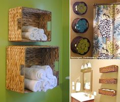 baskets on walls for bathroom storage