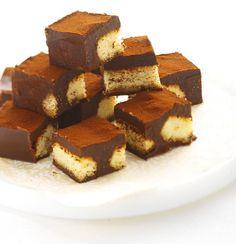 Tirimisu Squares. Amaretto, lady fingers, whipping cream, dark chocolate, cocoa powder