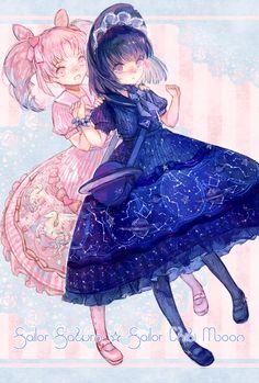 Sailor Saturn and Sailor Chibi Moon