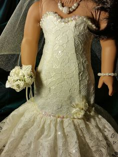 Ivory Lace Fit and Flair Bride Doll Dress for by NormasSpecialDays