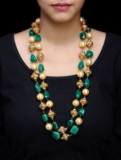 Double Chain Carved Metal Beads Pearl Shell Necklace