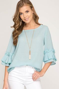 - Origami sleeve top in seafoam. Pastel Fashion, Trendy Fashion, Casual Tops For Women, Blouses For Women, Kurta Designs, Blouse Designs, A Line Skirt Outfits, Sleeves Designs For Dresses, Korean Girl Fashion