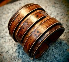 Most Fashionable Leather cuff bracelet Destroyed finish burnished and waxed Brooklyn NYC