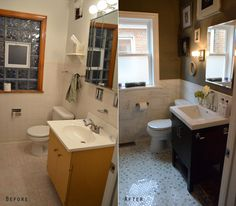 bath makeovers before after - 1950s Bathroom Remodel Before And After