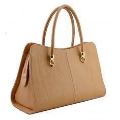 Italian Made, Genuine Leather Handbag - Mari Cognac Sky
