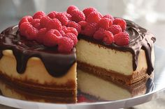 See this gorgeous cheesecake topped with dark chocolate ganache and with fresh raspberries? It can be chilling in your refrigerator in just 35 minutes.