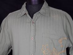 Blue Tibet Shirt Hand Sewn Floral Stitch Outdoor Made in India Button Up Casual #Shopping #eBay #Endingsoon http://r.ebay.com/J8iTKS