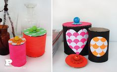 DIY paper tube jars: cute DIY idea for kids ^^