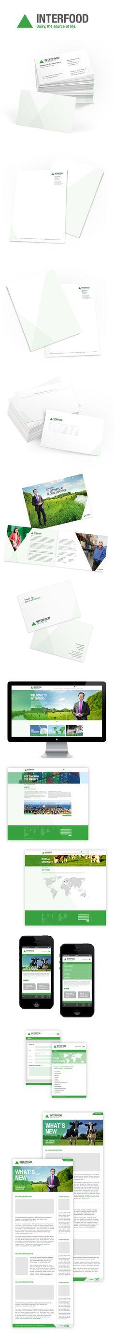 Interfood Logo design, corporate identity, website by GiDesign Corporate design letterhead letter business card logo envelop colors graphic minimal website
