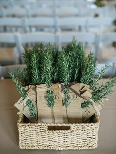 Herb wedding ceremony program...we could do this with cinnamon sticks!