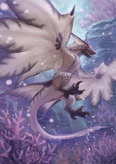 Legiana, monster hunter world - Northern Dragon Monster Hunter Art, Monster Art, Female Monster, Mythical Creatures Art, Magical Creatures, Creature Concept Art, Creature Design, Fantasy Beasts, Cool Dragons