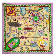 Renowned artist and Turner Prize winner Grayson Perry has created this silk square scarf exclusively for Tate. Take a tour through the history of modern art with this beautifully detailed and amusing design. 'In the second world war pilots were given maps printed on silk to help them escape if they were shot down over enemy territory. This scarf is a social and cultural map to help aspiring artists navigate the hostile territory on their way to being accepted by the establishment.'