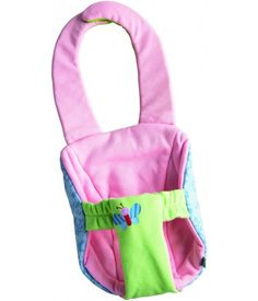 Baby Carrier Luca - This cushioned carrying seat is for 15 inch HABA dolls and others of that size, made of washable polyester. Rests comfortably around the child's neck with a simple and safe hook and loop fastener. $24.99