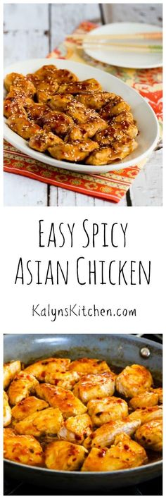 This easy spicy asian chicken tastes like it came from a restaurant, but it's easy enough to make for a work-night dinner. Chicken Recipes Dry, Turkey Recipes, Healthy Dinner Recipes, Cooking Recipes, Asian Chicken, Asian Recipes, Asian Foods, Asian Cooking, Food Dishes