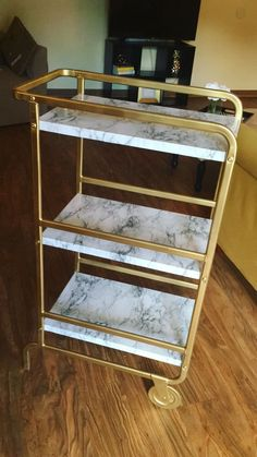 Ikea Sunnersta DIY Gold Bar Cart #diy #barcart #easy