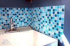 DIY Adhesive tiles that look like glass mosaic tiles.