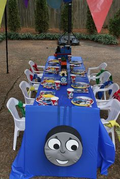 "Train Table- how cute! Saving this in case we hit a ""Thomas the Train"" phase... - Grady would LOOOVVEE this!!"