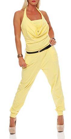Sommer Damen Lang Playsuit Overall Jumpsuit Hose Schlitz Hosenanzug Damenoverall