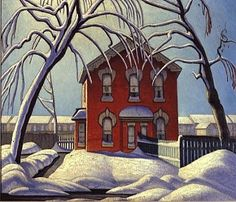 """Painting by Lawren Harris - """"The Red House"""" (c. - member of the Group of Seven, Canadian artists Tom Thomson, Group Of Seven Artists, Group Of Seven Paintings, Canadian Painters, Canadian Artists, Art And Illustration, Moritz Von Schwind, Tamara Lempicka, Emily Carr"""