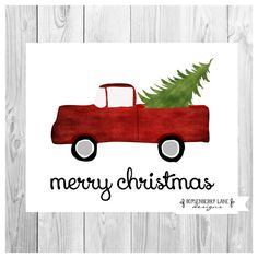 Vintage Red Truck with Tree - Christmas Rustic Holiday Digital Printable Print Art Instant Download File