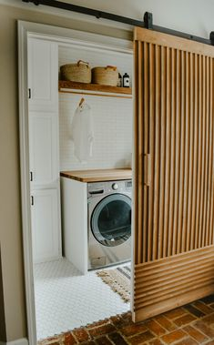 Neutral Laundry Room Remodel - House On Longwood Lane Laundry Room Remodel, Laundry Closet, Laundry Room Storage, Laundry Room Design, Laundry Drying, Storage Spaces, Landry Room, Small Laundry Rooms, Outdoor Laundry Rooms