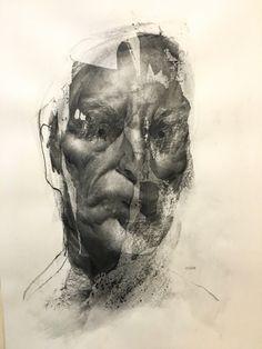 Artist Daniel Ochoa Portrait charcoal on paper and transparent gesso, 2017 Hipster Drawings, Art Drawings, Drawing Faces, Pencil Drawings, Charcoal Art, Charcoal Drawings, Manga Drawing, Drawing Tips, Found Art