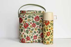 Vintage Ladies Floral Thermos Lunchbox, Antique Floral Bag by byjenn2007 on Etsy https://www.etsy.com/listing/235185658/vintage-ladies-floral-thermos-lunchbox