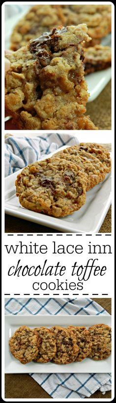 White Lace Inn Oatmeal Chocolate Toffee Cookies - they're easy, bakery style cookies. Large, chewy and perfect for a fall get together, activity, etc. Well, they're just perfect any time!!