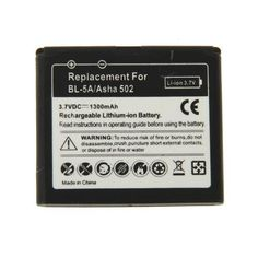 BL-5A+1300mAh+Rechargeable+Replacement+Li-ion+Battery+for+Nokia+Asha+502