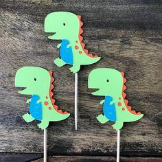 1 Dozen Dinosaur Themed Cupcake Picks- First Birthday, Party Decorations Birthday Party Images, Dinosaur Birthday Party, First Birthday Parties, First Birthdays, 2nd Birthday, Birthday Ideas, Police Car Cakes, Baby Dino, Cartoon Dinosaur