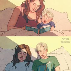 Astoria and Scorpius, 2007 and 2019 This is sad I know I'm sorry I just missed angst. :c (Those who don't know the story of the Cursed Child won't unde. Of Mothers and Sons Fanart Harry Potter, Harry Potter Artwork, Harry Potter Ships, Harry Potter Drawings, Harry Potter Universal, Harry Potter Fandom, Harry Potter Characters, Harry Potter World, Draco Malfoy