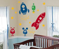 Rocket Ship Wall Decal Collection (with aliens & rockets) - http://www.theboysdepot.com/rocket-ship-wall-decal-collection-with-aliens-and-rockets.html