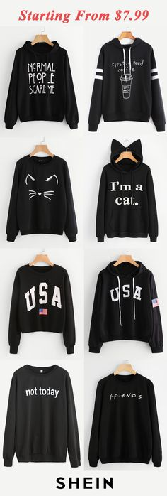 Black print sweatshirts start at $7.99!