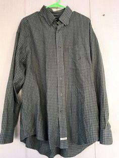 Nautica Men's Button Down Shirt Traveler Twill Long Sleeve Check Plaid Size XL #Nautica #ButtonFront