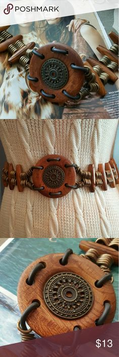"""Vintage Wooden Boho Chain Belt Vintage. Very good vintage condition. Adjustable loops. Length: 40"""".  Quality belt with a good weight. Solid wood. Vintage Accessories Belts"""