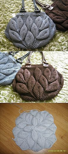 Handbag knit leaves on Osinka. Has knitting Diagrams and also a crochet diagram. Handbag knit leaves on Osinka. Has knitting Diagrams and also a crochet diagram. Crochet Shell Stitch, Knit Or Crochet, Crochet Crafts, Yarn Crafts, Knitting Projects, Crochet Projects, Knitting Patterns, Crochet Patterns, Crochet Handbags