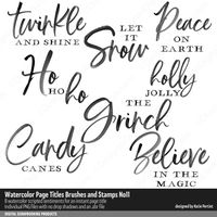 Scripted page titles for scrapbooking and cardmaking Digital Stamps, Digital Scrapbooking, Photoshop Brushes, Word Art, Cardmaking, Peace, Let It Be, Quotes, Christmas