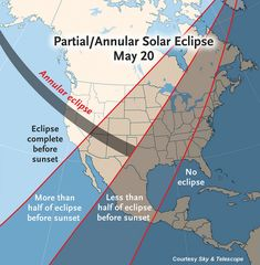 May 20, 2012, Annular Solar Eclipse Map - Credit: Sky & Telescope Nearly all North America gets at least a partial eclipse on May 20th, with the Moon taking a big bite out of the Sun. The eclipse will still be in progress at sunset for much of the U.S., Canada, and Mexico.