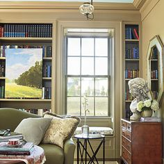 Living Room Bookcase Wall - Senoia Georgia Idea House Tour - Southern Living
