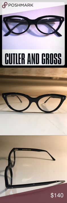 CUTLER AND GROSS OF LONDON- CATEYE EYEGLASSES CUTLER AND GROSS OF LONDON- CATEYE EYEGLASSES IN BLACK. Frames are clear, purchased at flagship store in London with no prescription. Comfortable on the face, these are lovely... Highest quality Italian made Frames. Frame Size (52-19-145). Brand new, never worn. Guaranteed authentic. Great deal! No case, will send replacement. CUTLER AND GROSS Accessories Glasses