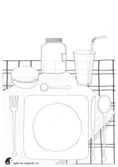 lunch coloring printables by pipasik