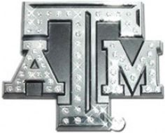 Texas A&M University crystal/chrome auto emblem. Sparkling crystals embedded in our newest A&M stack emblem. We utilize a double sided 3M foam automotive tape for easy, long lasting, paint safe attach