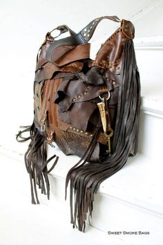 f5291a1ac3 Mix of brown leather bag distressed hobo purse bohemian boho festival  tribal african purse sweet smoke free people Moroccan moroccan