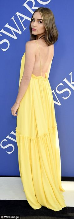 Olivia Culpo is summer lovin' in yellow as she attends the CFDA Fashion Awards in New York | Daily Mail Online
